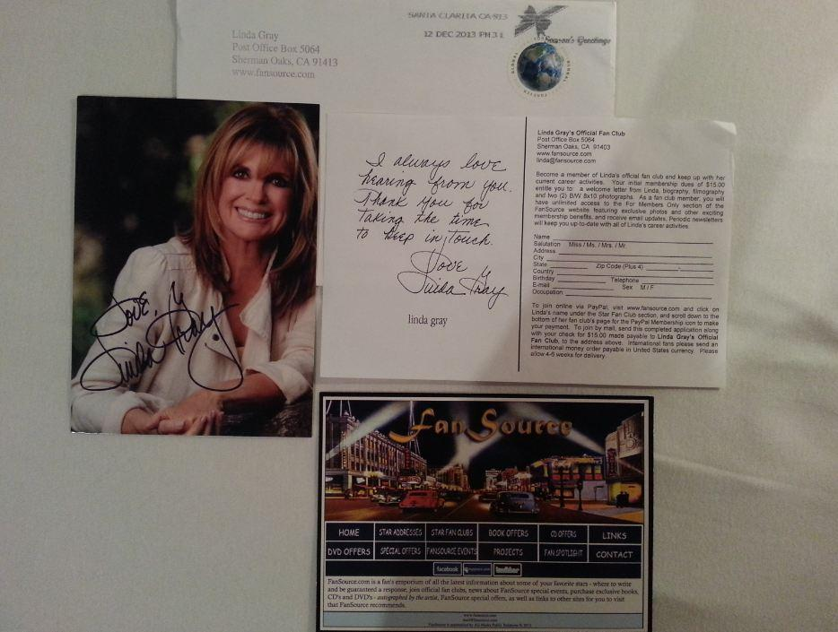 Linda Gray fan mail biz